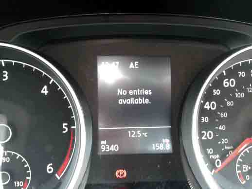 Problems with MFD not displaying items  - GOLFMK7 - VW GTI MKVII